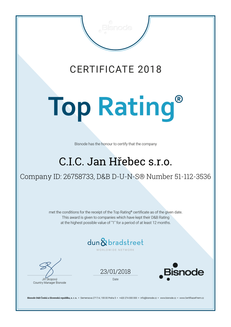 The Certification Top Rating And Bisnode Aaa Cic