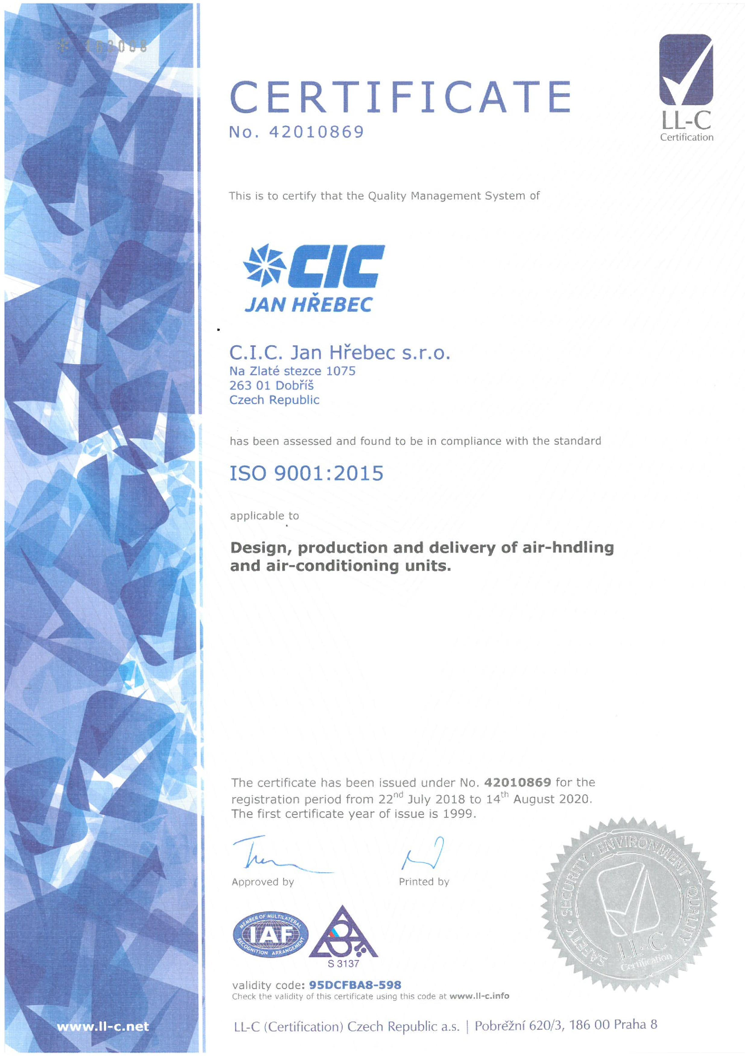 iso cic certificates company management certificate